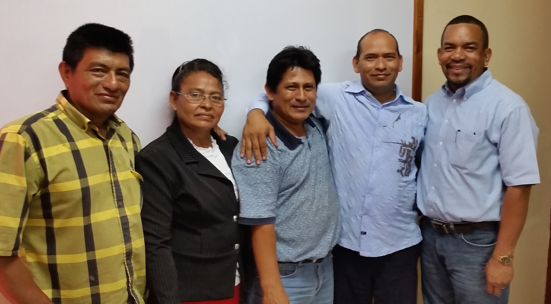 Pastor Caceres, his wife, Juana, Pastor Sanchez (Twelve Churches), Pastor Lopez and ONet Nicaragua Director, Eddy Morales after signing all of the legal paperwork to launch these churches to Local Church Initiative partners.